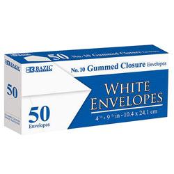 #10 White Envelope W/Gummed Closure,50 Pk