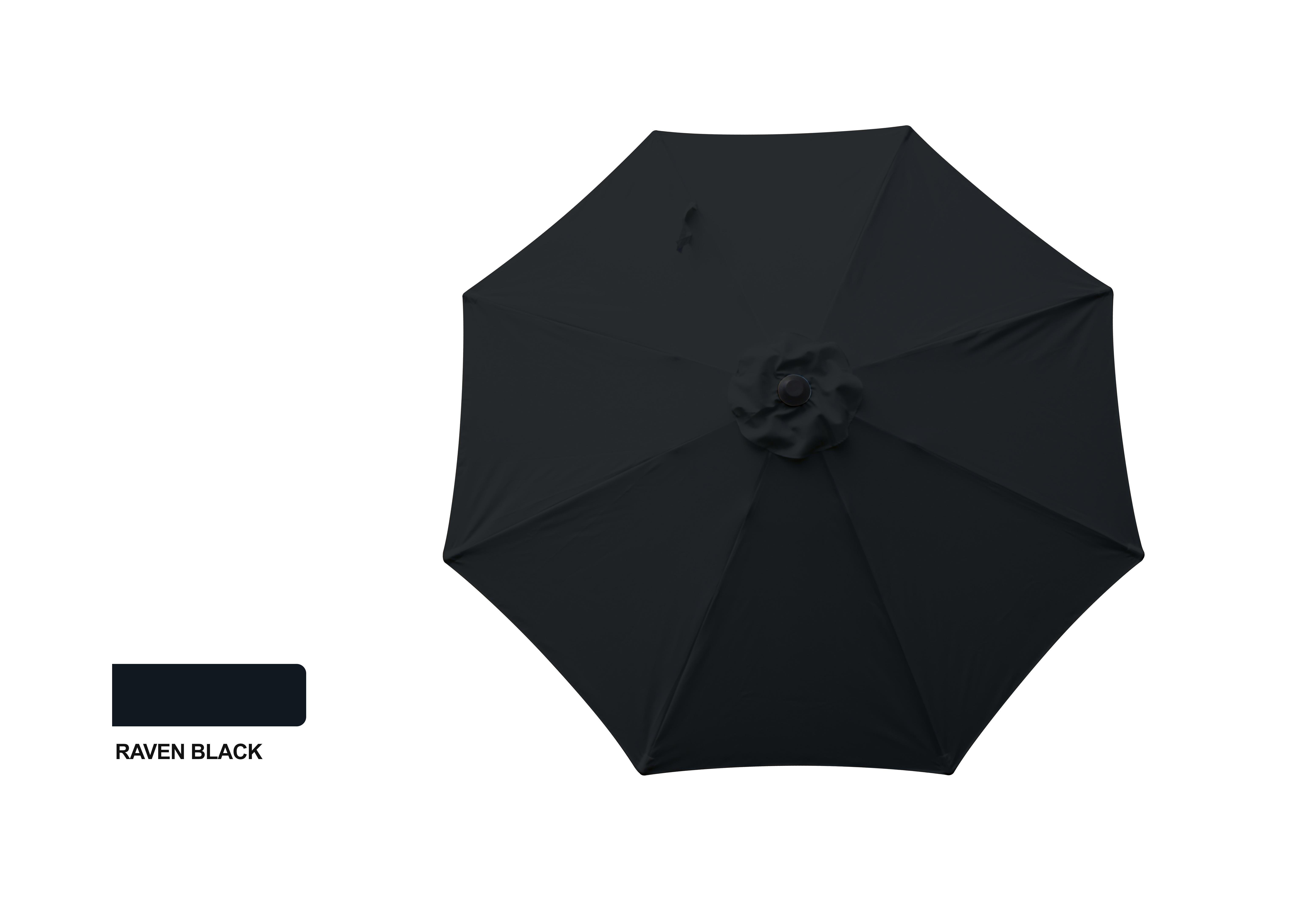 9' Aluminum Market Umbrella - Raven Black