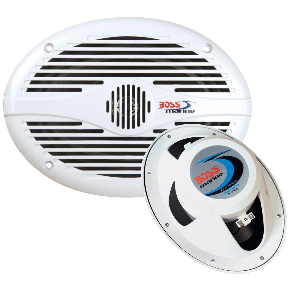"""Boss Audio MR690 6"""" x 9"""" Oval Marine Speakers - (Pair) White"""