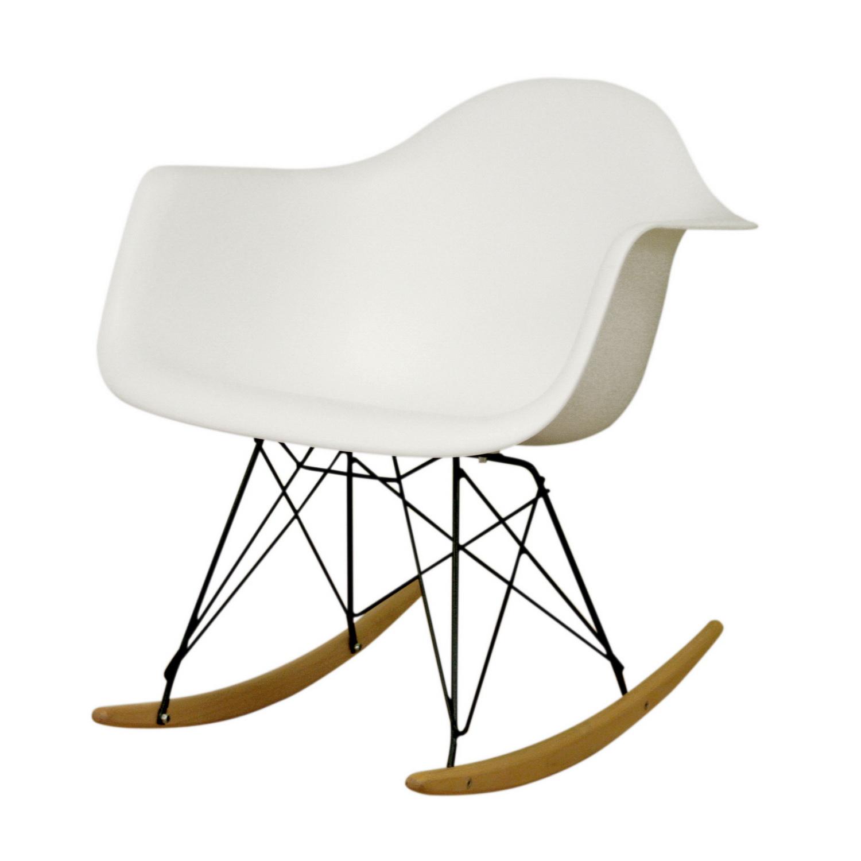 Baxton Studio Dario White Plastic Mid-Century Modern Rocking Chair