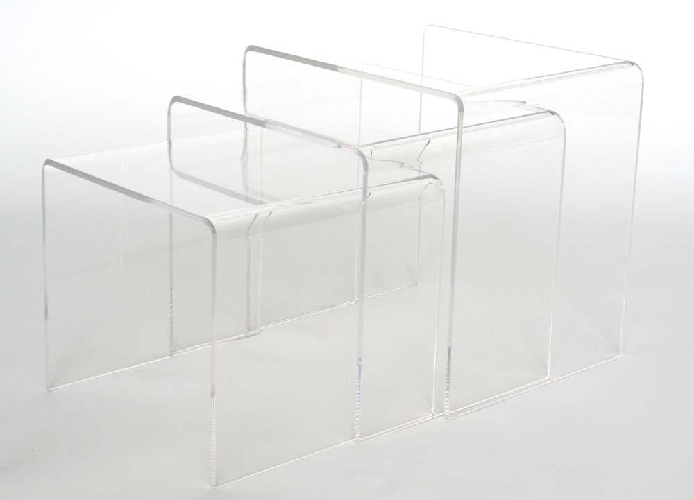 Baxton Studio Acrylic Nesting Table 3-Pc Table Set Display Stands