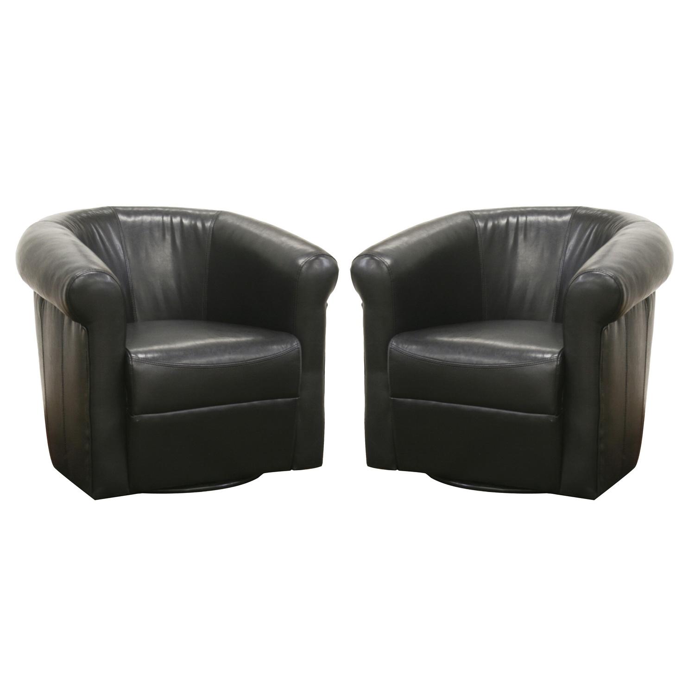 Baxton Studio Julian Black Brown Faux Leather Club Chair with 360 Degree Swivel