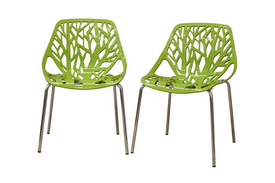 Baxton Studio Modern Birch Sapling Green Finished Plastic Dining Chair (Set of 2)