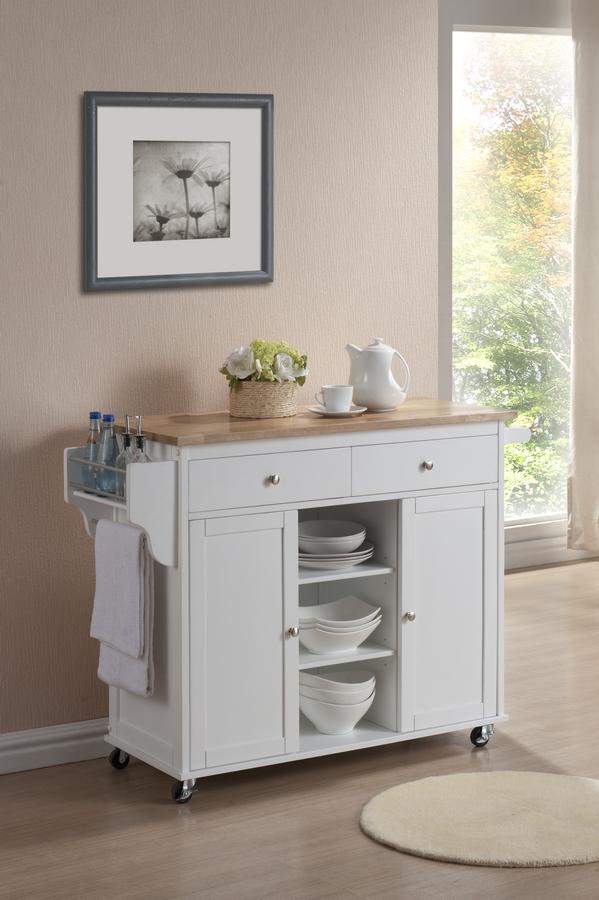 Baxton Studio Meryland White Modern Kitchen Island Cart