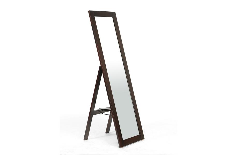 Baxton Studio Lund Dark Brown Wood Modern Mirror with Built-In Stand