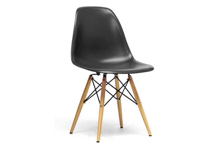 Baxton Studio Azzo Black Plastic Mid-Century Modern Shell Chair  (Set of 2)