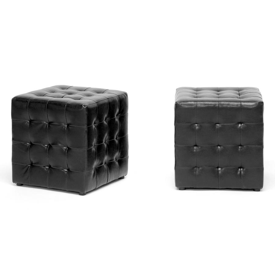 Baxton Studio Siskal Black Modern Cube Ottoman (Set of 2)