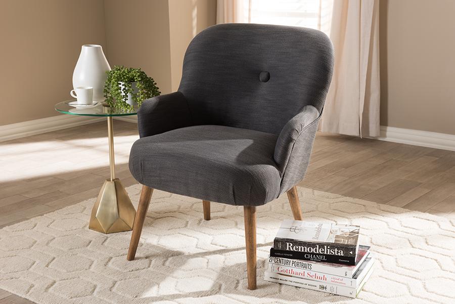 Baxton Studio Linnea Mid-Century Modern Grey Fabric Upholstered Walnut Finished Wood Lounge Chair