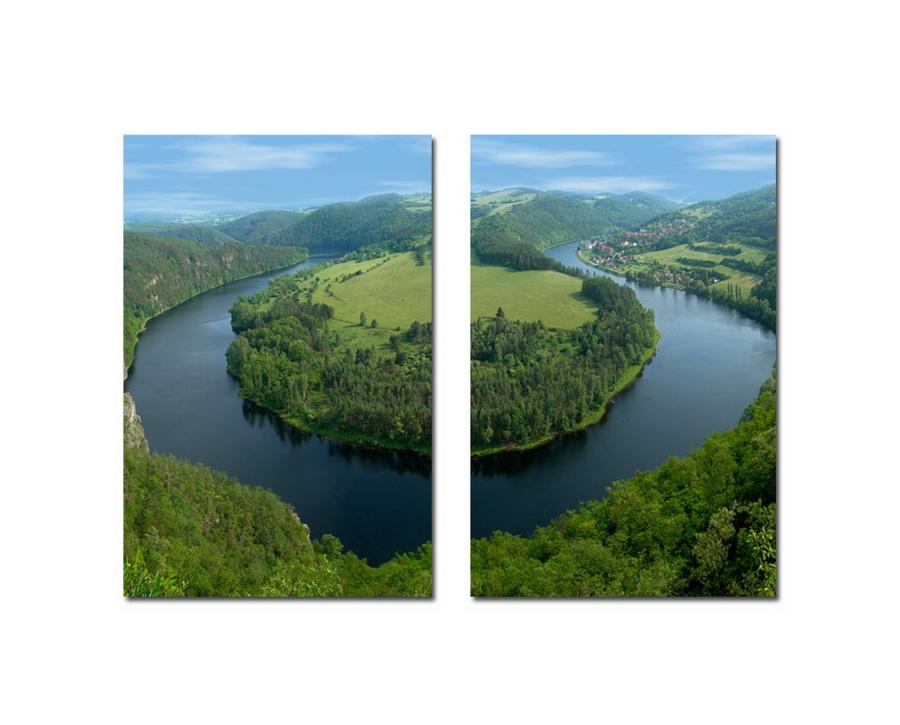 Baxton Studio Wraparound Waterway #2 Mounted Photography Print Diptych