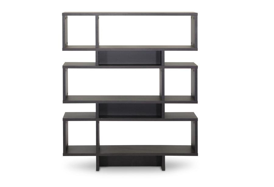 Baxton Studio Cassidy 6-Level Dark Brown Modern Bookshelf
