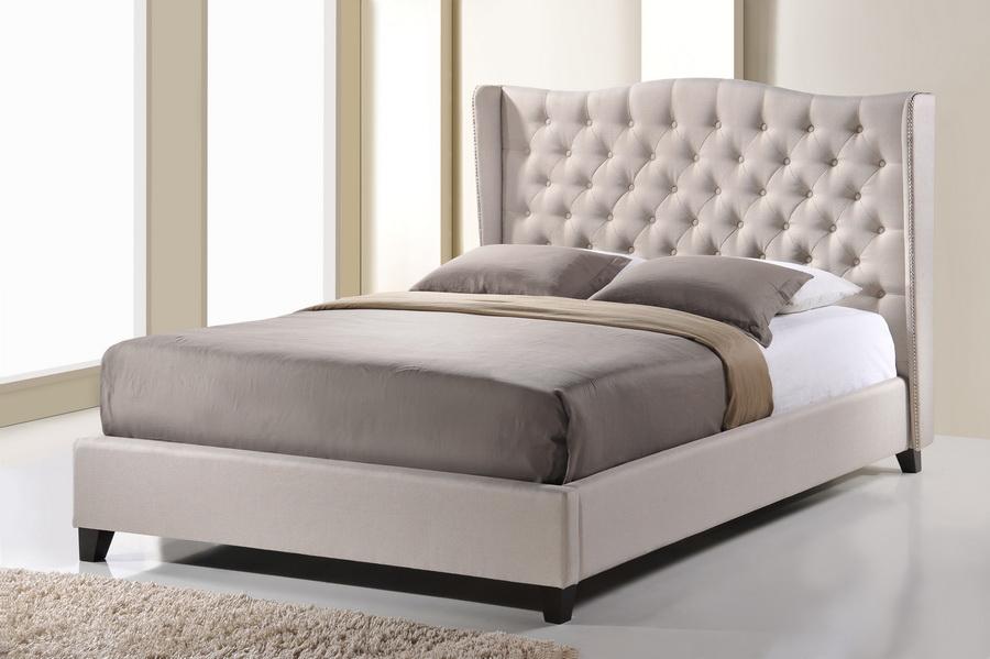 Baxton Studio Norwich Light Beige Linen Modern Platform Bed vKing Size