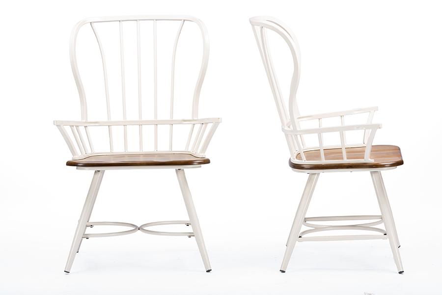 "Baxton Studio Longford ""Dark-Walnut"" Wood and White Metal Vintage Industrial Dining Arm Chair (Set of 2)"