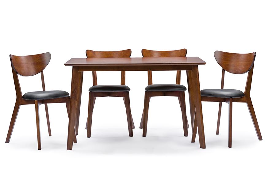 "Baxton Studio Sumner Mid-Century Style ""Walnut"" Brown 5-Piece Dining Set"