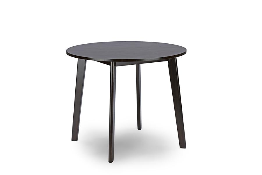 Baxton Studio Debbie Mid-Century Dark Brown Wood Round Dining Table