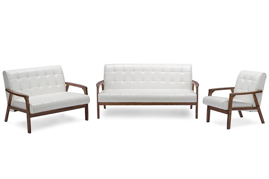 Baxton Studio Baxton Studio Mid-Century Masterpieces 3 Pieces Living Room Set - White