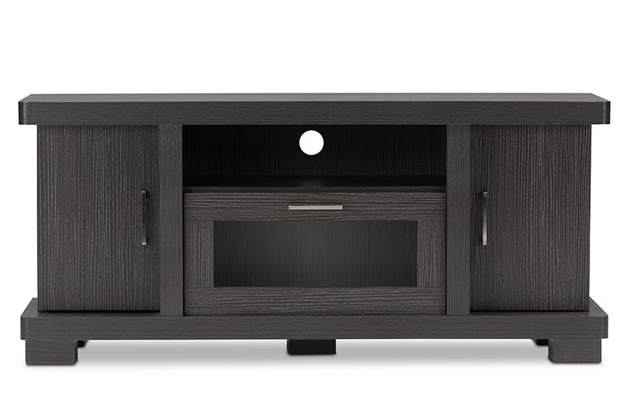 Baxton Studio Viveka 47-Inch Dark Brown Wood TV Cabinet with 2 Doors