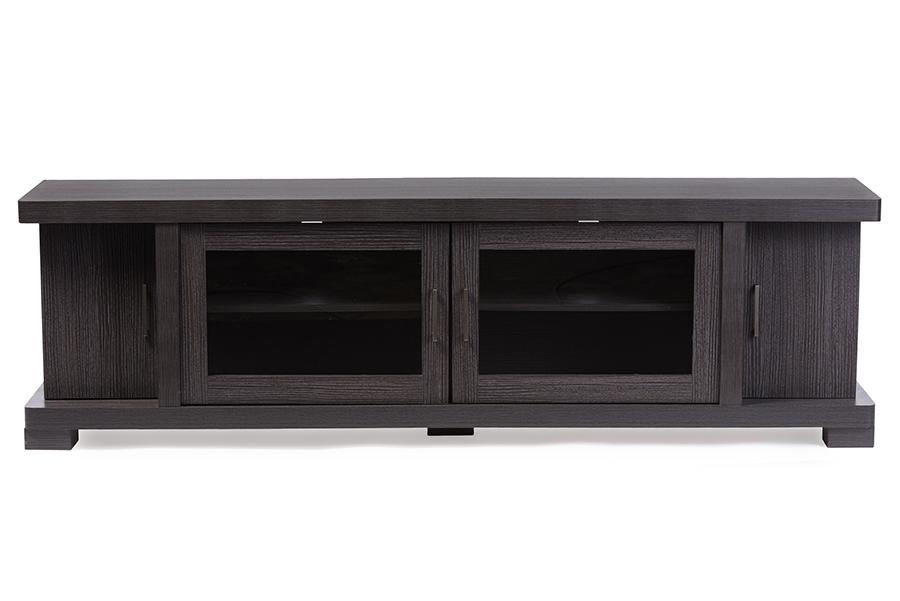 Baxton Studio Viveka 70-Inch Dark Brown Wood TV Cabinet with 2 Glass Doors and 2 Doors
