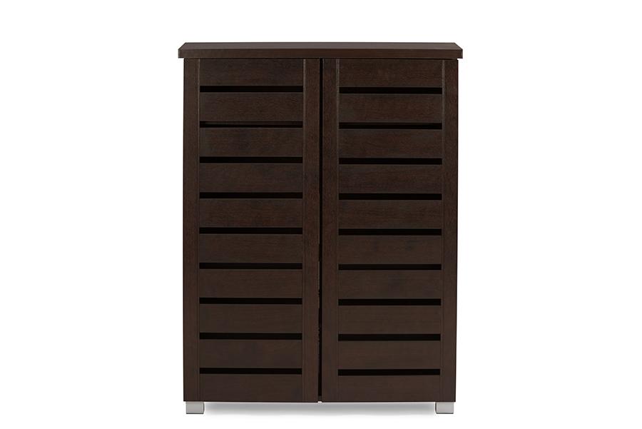 Baxton Studio Adalwin Modern and Contemporary 2-Door Dark Brown Wooden Entryway Shoes Storage Cabinet