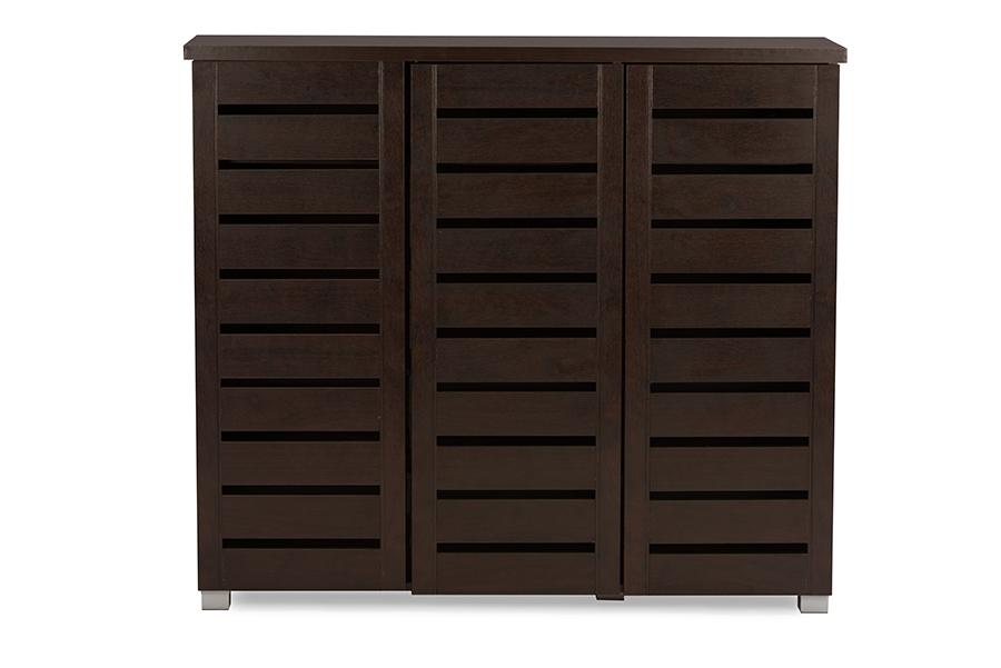 Baxton Studio Adalwin Modern and Contemporary 3-Door Dark Brown Wooden Entryway Shoes Storage Cabinet