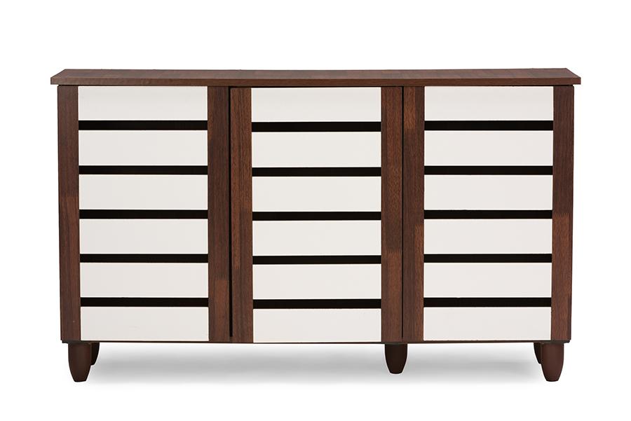 Baxton Studio Gisela Oak and White 2-tone Shoe Cabinet With 3 Doors