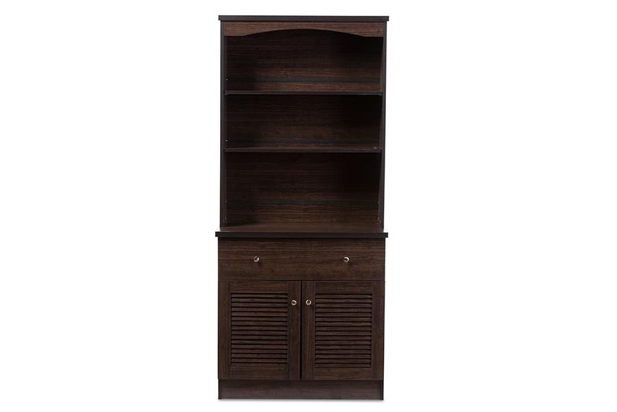 Baxton Studio Agni Modern and Contemporary Dark Brown Buffet and Hutch Kitchen Cabinet
