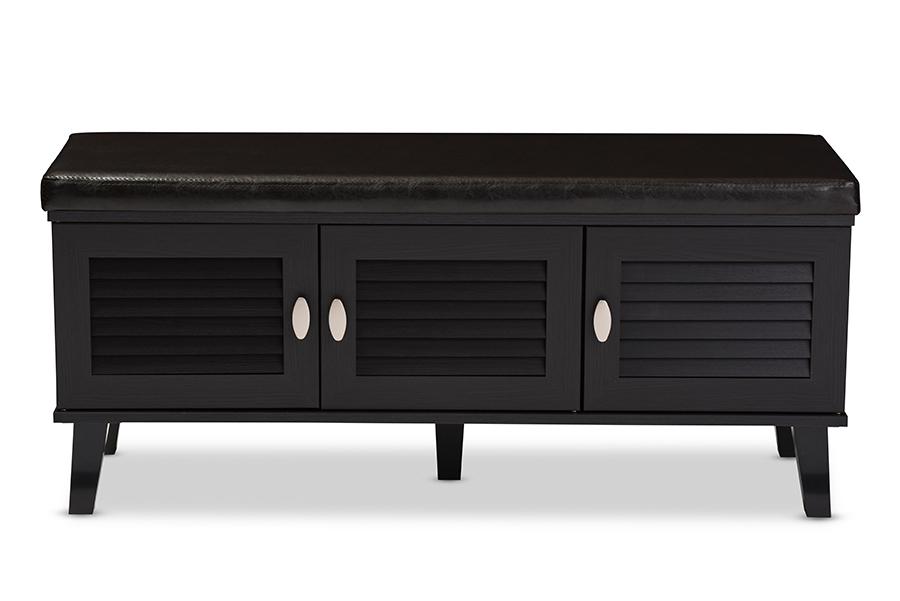 Baxton Studio Sheffield Modern and Contemporary 3-door Dark Brown Wood Entryway Storage Cushioned Bench Shoe Rack Cabinet Organi