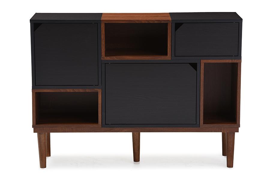 Baxton Studio Anderson Mid-century Retro Modern Oak and Espresso Wood Sideboard Storage Cabinet