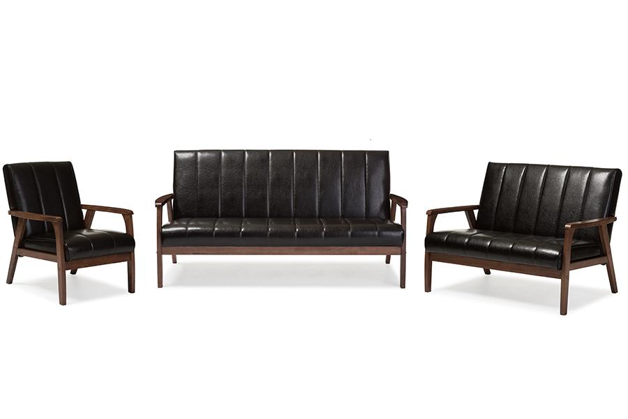 Baxton Studio Nikko Mid-century Modern Scandinavian Style Dark Brown Faux Leather 3 Pieces Living Room Sets