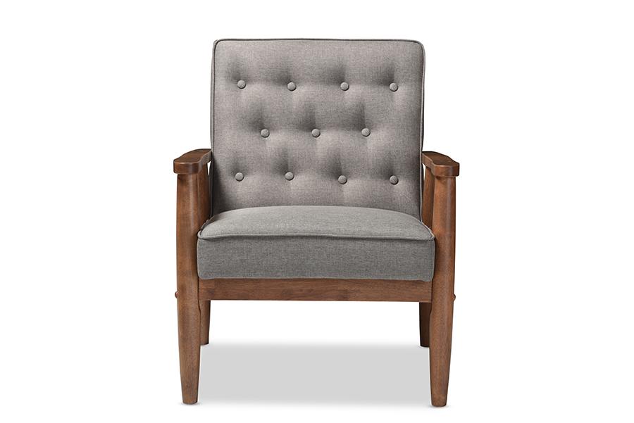Baxton Studio Sorrento Mid-century Retro Modern Grey Fabric Upholstered Wooden Lounge Chair