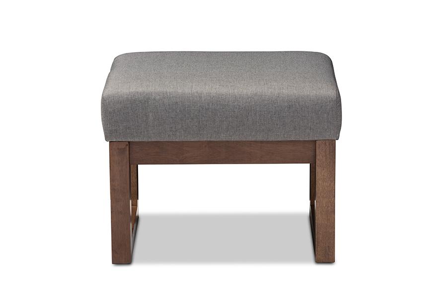 Baxton Studio Yashiya Mid-century Retro Modern Grey Fabric Upholstered Ottoman Stool