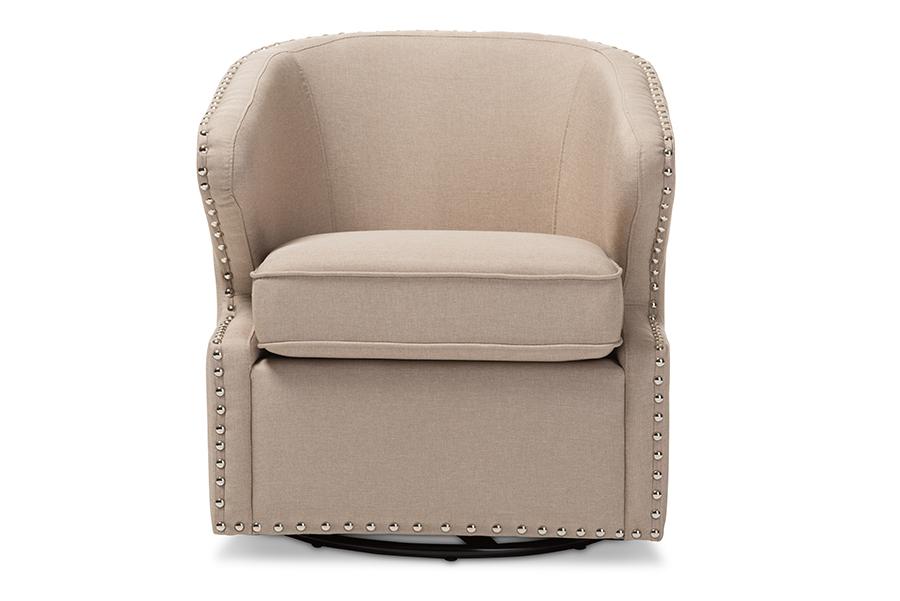 Baxton Studio Finley Mid-century Modern Beige Fabric Upholstered Swivel Armchair