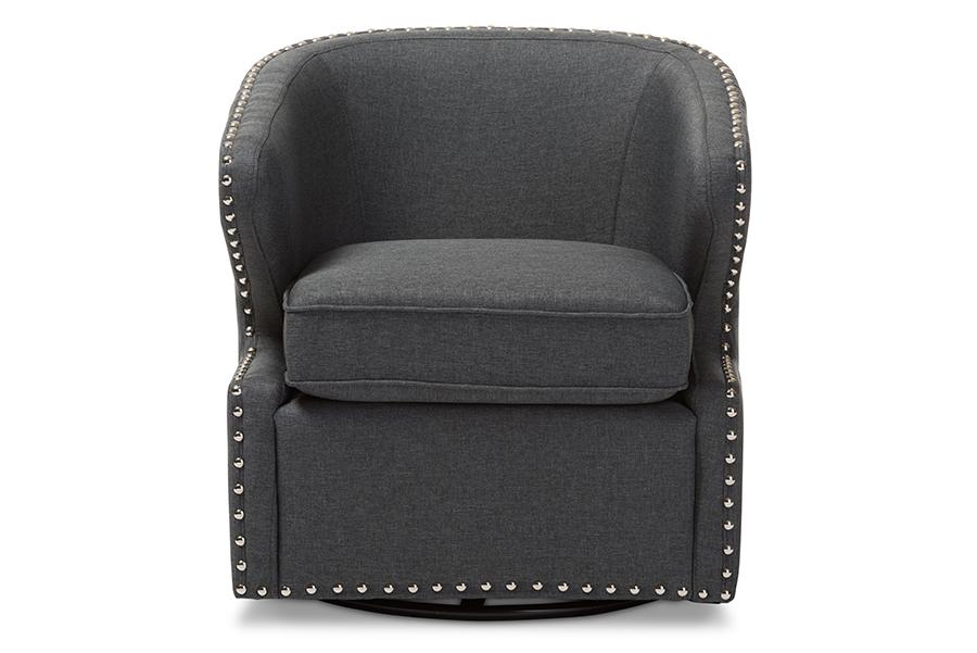 Baxton Studio Finley Mid-century Modern Grey Fabric Upholstered Swivel Armchair