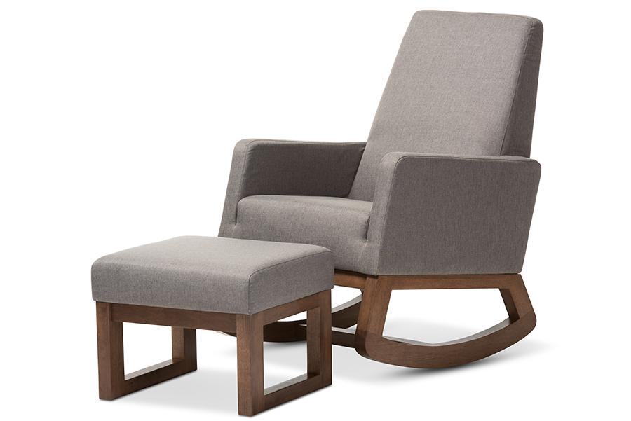 Baxton Studio Yashiya Mid-century Retro Modern Grey Fabric Upholstered Rocking Chair and Ottoman Set