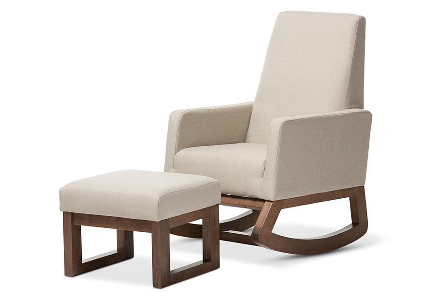 Baxton Studio Yashiya Mid-century Retro Modern Light Beige Fabric Upholstered Rocking Chair and Ottoman Set