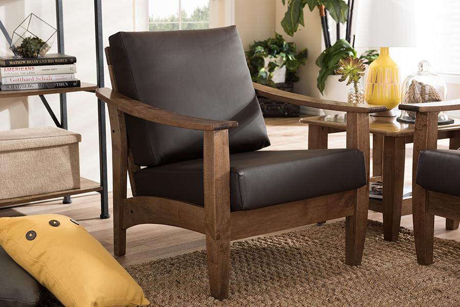 Baxton Studio Pierce Mid-Century Modern Walnut Brown Wood and Dark Brown Faux Leather 1-Seater Lounge Chair