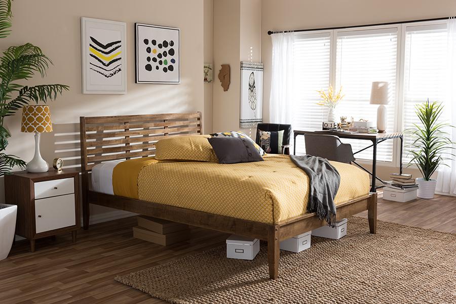 Baxton Studio Daylan Mid-Century Modern Solid Walnut Wood Slatted Queen Size Platform Bed