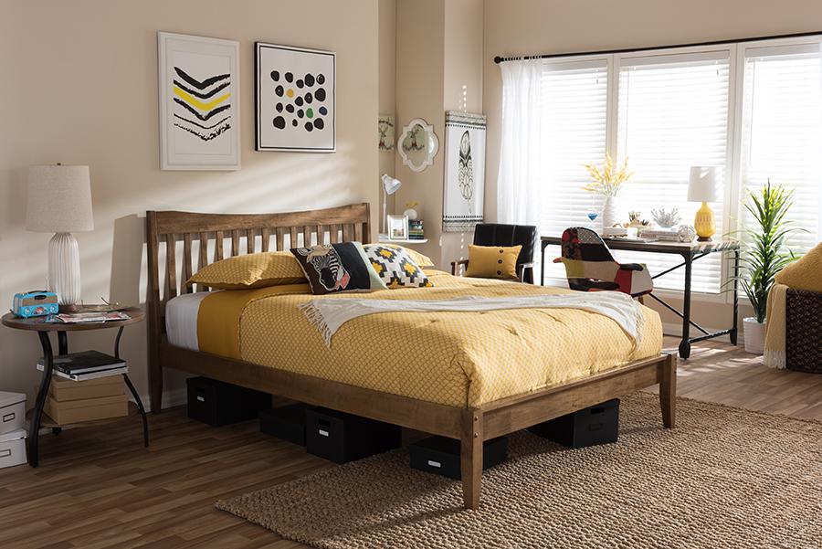 Baxton Studio Edeline Mid-Century Modern Solid Walnut Wood Curvaceous Slatted Full Size Platform Bed
