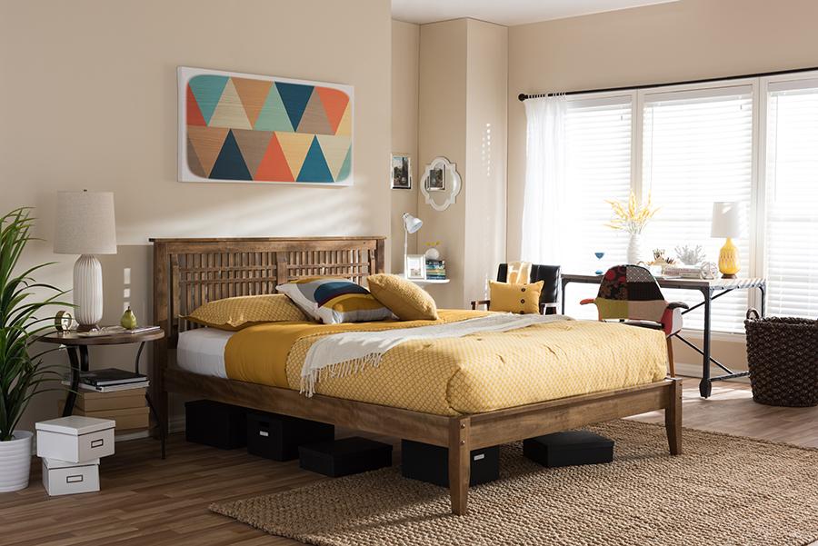 Baxton Studio Loafey Mid-Century Modern Solid Walnut Wood Window-Pane Style Queen Size Platform Bed