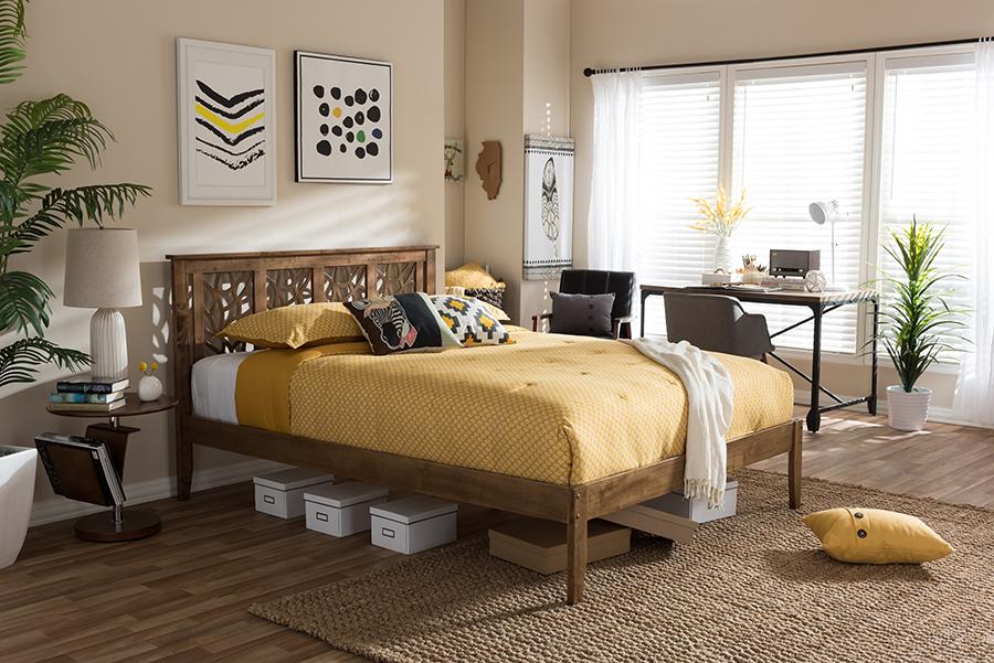 Baxton Studio Trina Contemporary Tree Branch Inspired Walnut Wood Queen Size Platform Bed