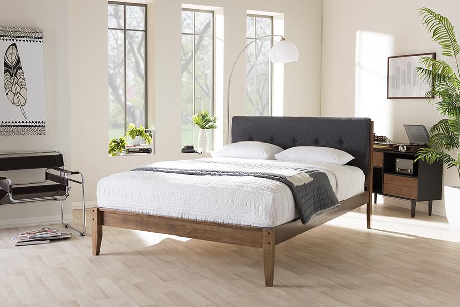 Baxton Studio Leyton Mid-Century Modern Grey Fabric Upholstered Queen Size Platform Bed