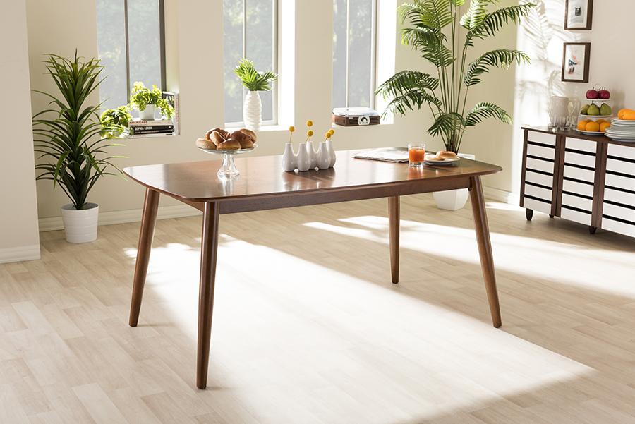 "Baxton Studio Flora Mid-Century Modern ""Oak"" Medium Brown Finishing Wood Dining Table"