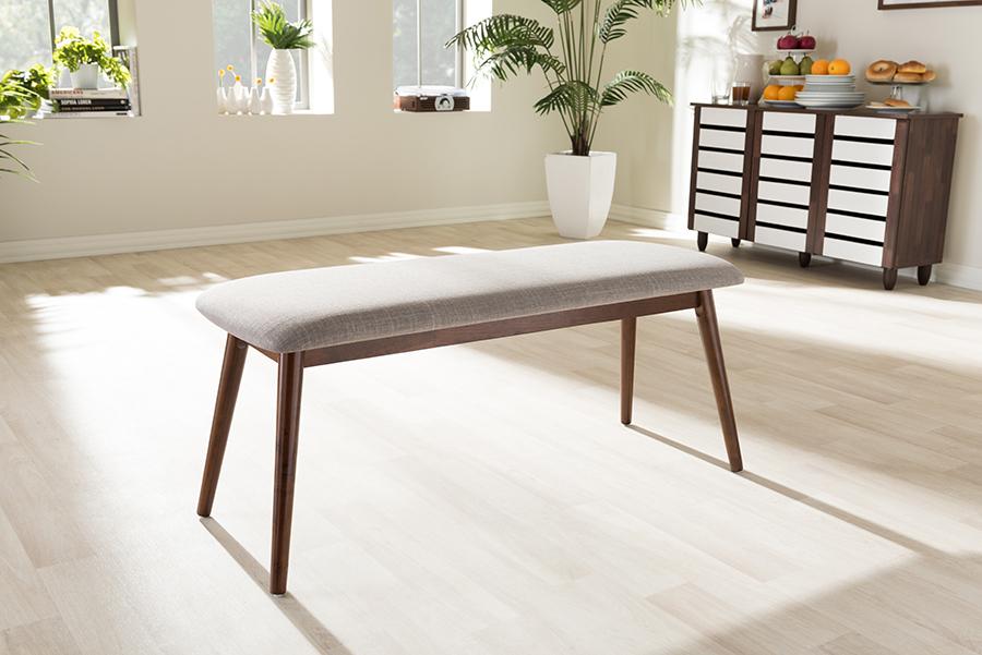 "Baxton Studio Flora Mid-Century Modern Light Grey Fabric and ""Oak"" Medium Brown Finishing Wood Dining Bench"