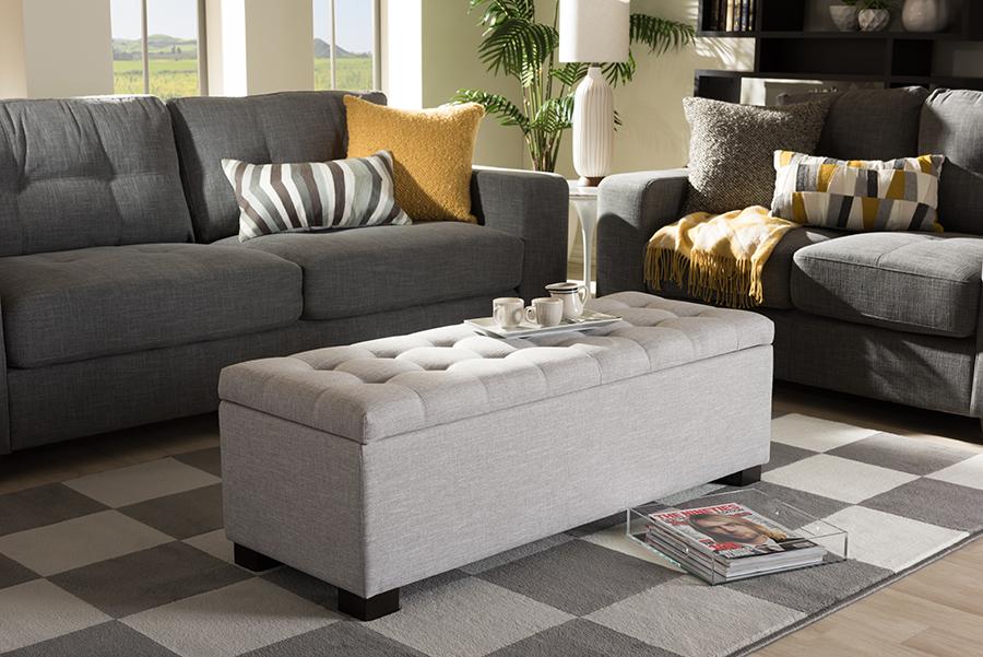 Baxton Studio Roanoke Modern and Contemporary Grayish Beige Fabric Upholstered Grid-Tufting Storage Ottoman Bench