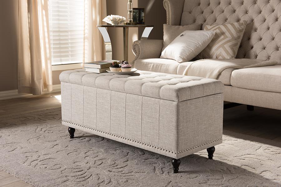 Baxton Studio Kaylee Modern Classic Beige Fabric Upholstered Button-Tufting Storage Ottoman Bench