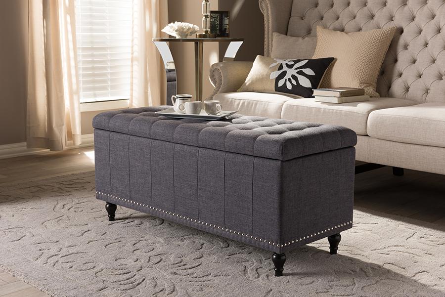 Baxton Studio Kaylee Modern Classic Dark Grey Fabric Upholstered Button-Tufting Storage Ottoman Bench