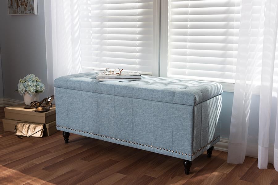 Baxton Studio Kaylee Modern Classic Light Blue Fabric Upholstered Button-Tufting Storage Ottoman Bench