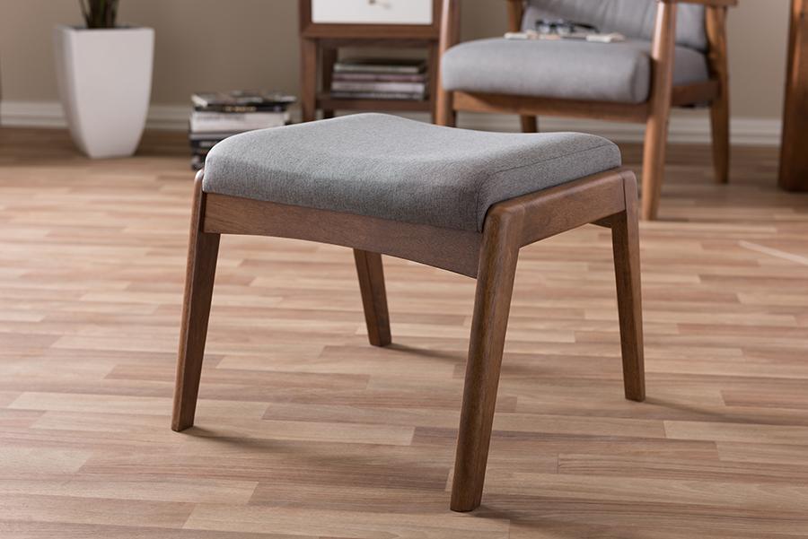 Baxton Studio Roxy Mid-Century Modern Walnut Wood Finishing and Grey Fabric Upholstered Ottoman