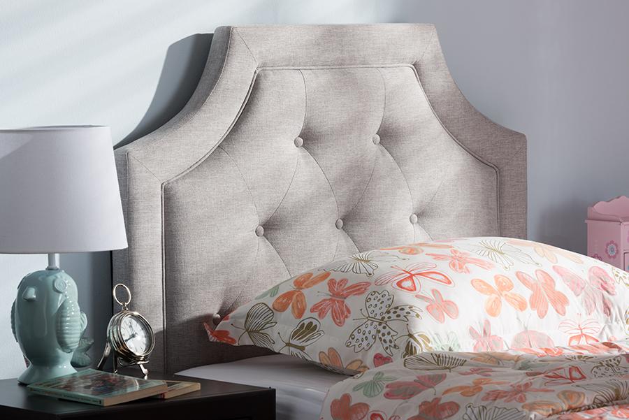 Baxton Studio Mars Modern and Contemporary Greyish Beige Fabric Twin Size Headboard