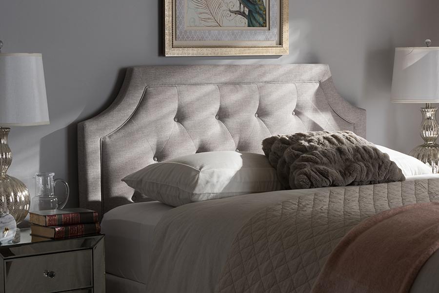Baxton Studio Mars Modern and Contemporary Greyish Beige Fabric Queen Size Headboard