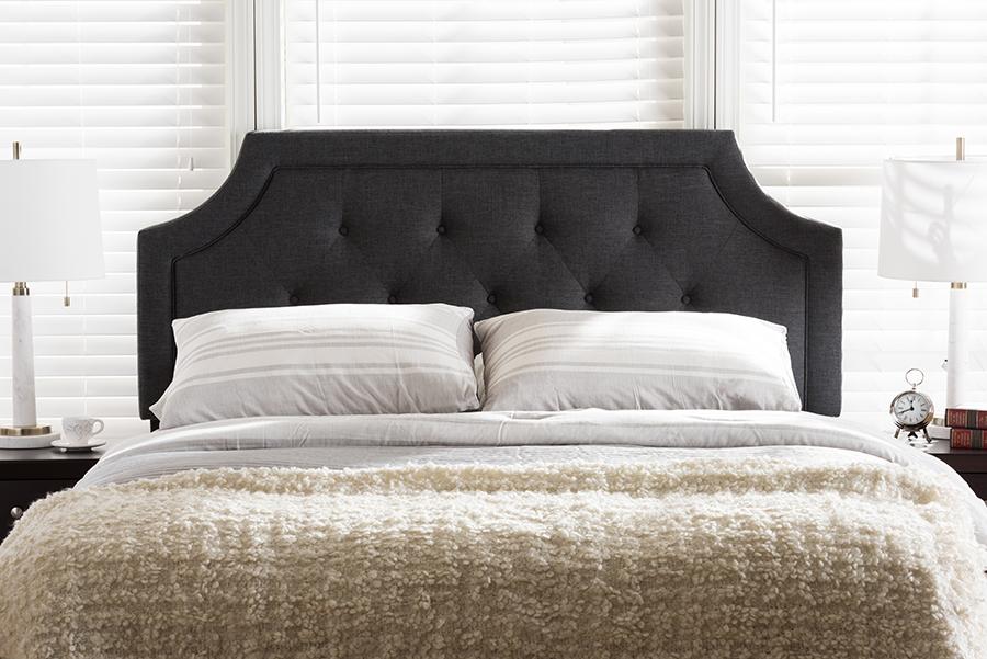 Baxton Studio Mars Modern and Contemporary Dark Grey Fabric Queen Size Headboard